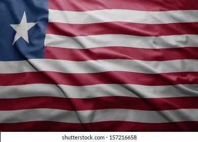 Waving colorful Liberian flag
