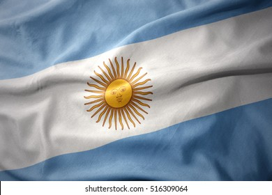 waving colorful national flag of argentina.