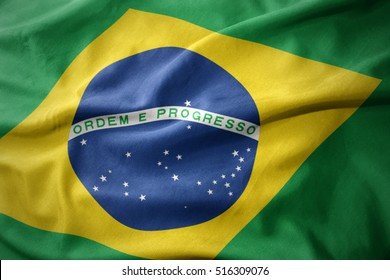 waving colorful national flag of brazil.