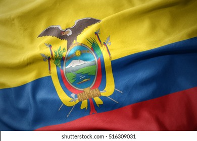 waving colorful national flag of ecuador.