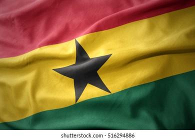 waving colorful national flag of ghana.