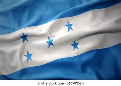waving colorful national flag of honduras.