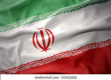 waving colorful national flag of iran.