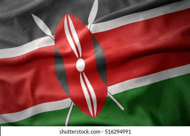 waving colorful national flag of kenya.