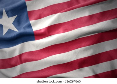 waving colorful national flag of liberia.