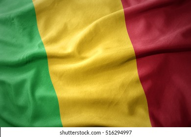 waving colorful national flag of mali.