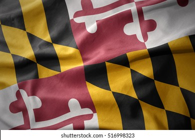 waving colorful national flag of maryland state.