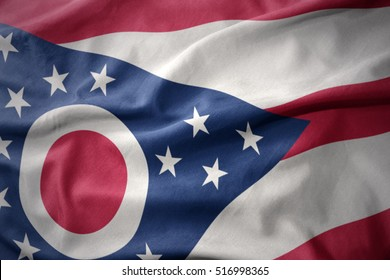 waving colorful national flag of ohio state.