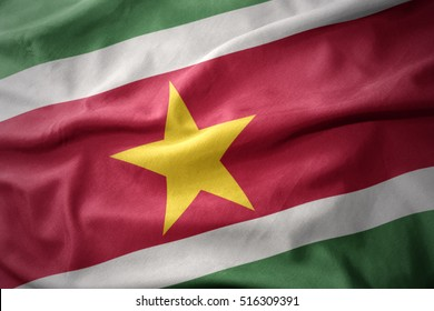 waving colorful national flag of suriname.