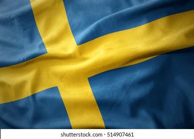 waving colorful national flag of sweden.