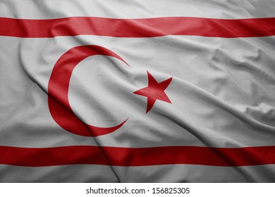 Waving colorful North Cyprus flag