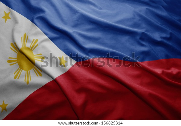 Waving colorful Philippine flag