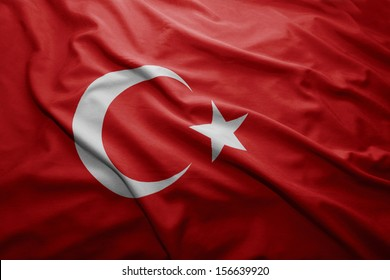 Waving colorful Turkish flag