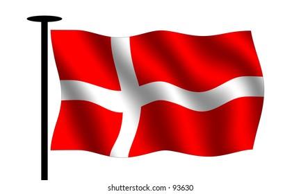 Waving Danish flag with flag pole