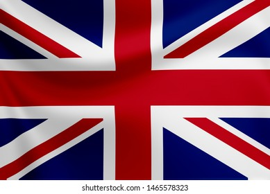 Waving of England flag. England is old country and high growth of economic.