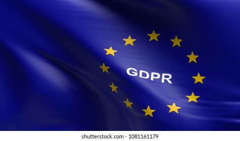 Waving European Union flag with GDPR, General Data Protection Regulation, 3d rendering