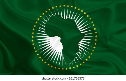 Waving Fabric Flag of African Union