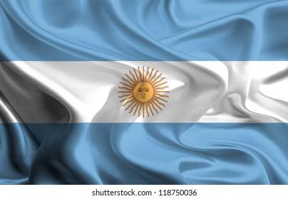 Waving Fabric Flag of Argentina