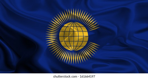 Waving Fabric Flag of the Commonwealth of Nations