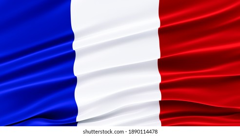 Waving Fabric Flag of french, Silk Flag of french. 3D render