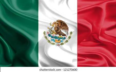 Waving Fabric Flag of Mexico