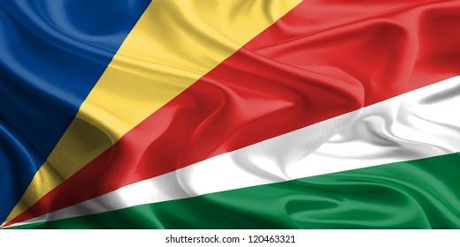 Waving Fabric Flag of Seychelles