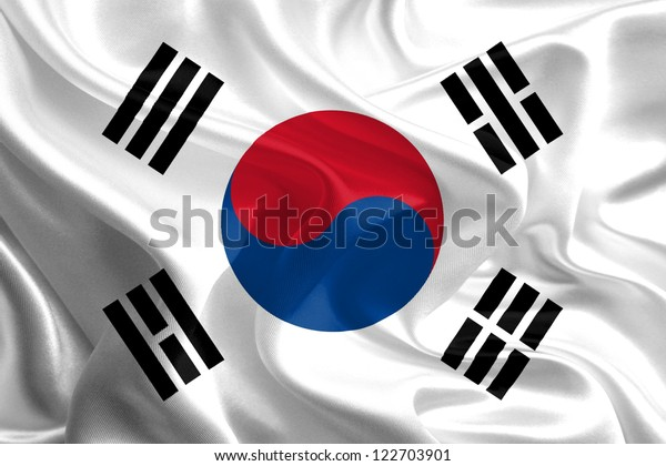 Waving Fabric Flag of South Korea