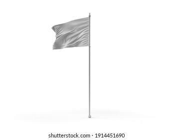 Waving Flag 3D Illustration Mockup Scene on Isolated Background