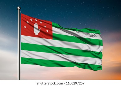 Waving flag of the Abkhazia. Pole Flag in the Wind. National mark. Waving Abkhazia Flag. Abkhazia Flag Flowing.