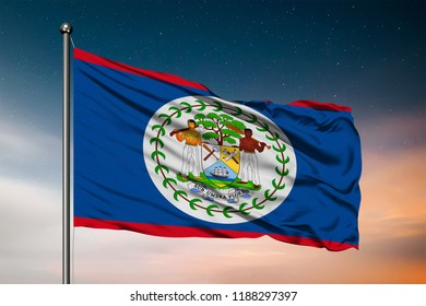 Waving flag of the Belize. Pole Flag in the Wind. National mark. Waving Belize Flag. Belize Flag Flowing.
