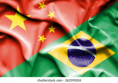 Waving flag of Brazil and China