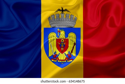 Waving flag of Budapest, Romania, with fabric texture