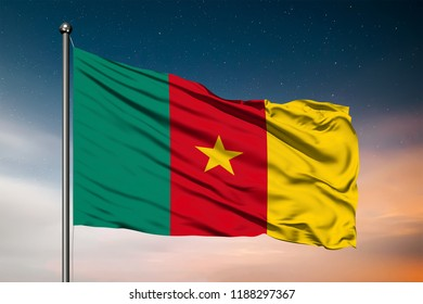 Waving flag of the Cameroon. Pole Flag in the Wind. National mark. Waving Cameroon Flag. Cameroon Flag Flowing.