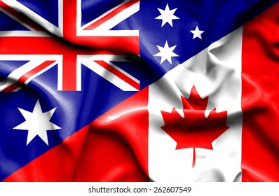 Waving flag of Canada and Australia