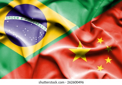 Waving flag of China and Brazil