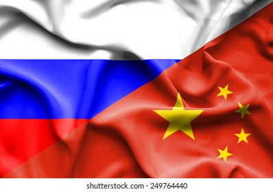 Waving flag of China and Russia