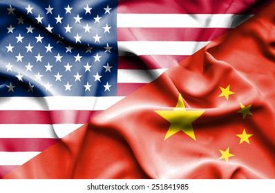 Waving flag of China and USA