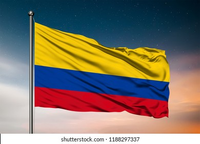 Waving flag of the Columbia. Pole Flag in the Wind. National mark. Waving Columbian Flag. Columbia Flag Flowing.