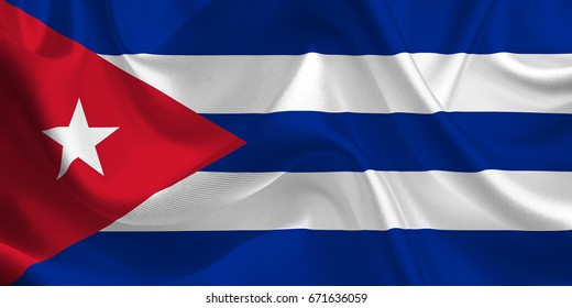 Waving flag of the Cuba. Cuban Flag in the Wind. National mark. Waving Cuba Flag. Cuban Flag Flowing.
