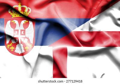 Waving flag of England and Serbia