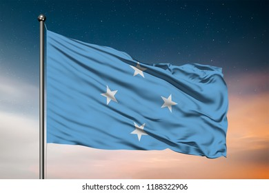 Waving flag of the Federated States of Micronesia. Pole Flag in the Wind. National mark. Waving Micronesia Flag. Federated States of Micronesia Flag Flowing.