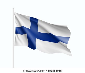 Waving flag of Finland state. Illustration of European country flag on flagpole.  3d icon isolated on white background