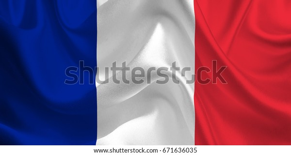 Waving flag of the France. Flag in the Wind. National mark. Waving France Flag. France Flag Flowing.