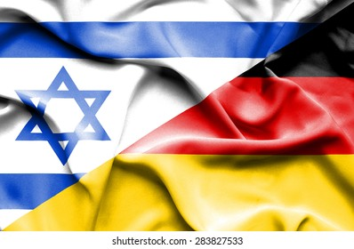 Waving flag of Germany and Israel