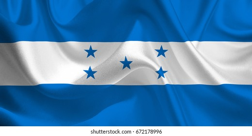 Waving flag of the Honduras. Flag in the Wind. National mark. Waving Honduras Flag. Honduras Flag Flowing. 3d Illustration.