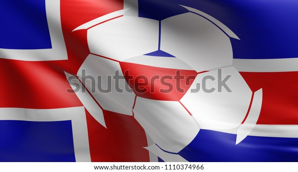 Waving flag of Iceland with a soccer ball icon, 3d rendering