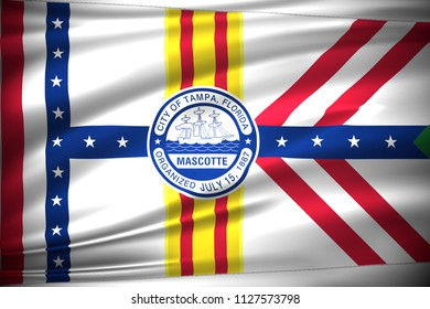 Waving flag illustration of important cities of the Unites States