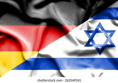 Waving flag of Israel and Germany