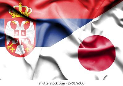 Waving flag of Japan and Serbia