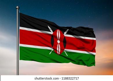 Waving flag of the Kenya. Pole Flag in the Wind. National mark. Waving Kenyan Flag. Kenya Flag Flowing.